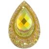 Resin Sew-on Peacock Stones 10pcs 20x30mm Drop Gold Aurora Borealis
